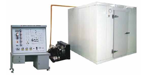 YL-712一机二库实训装置,是专门用于职业技术学院制冷专业进行实训和实验。一机二库,是指利用一台制冷压缩机,同时向两个需要不同库温的库房供应冷量。  (1)一机二库实训装置 技术参数 额定功率:800W; 额定电压:AC380V,50Hz; 制冷量:约600Kcal/n; 控温:高温库可以控制在5 左右,低温库可以控制在-15左右; 压缩机功率:3PH; 防护等级:IP44; 安全保护:过压、过流、漏电保护措施。 (2)一机二库实训装置 系统说明 一机两库教学实验台由二个部分组成。 制冷